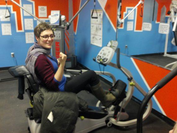 Kaela on the NU Step accessible elliptical