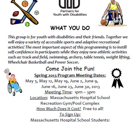Accessible Sports Program flyer