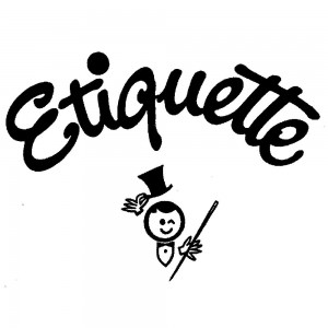A little man wearing a bow tie and a top hat holding a cane under the word etiquette