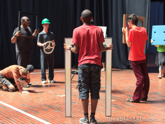 ATT participants engaged in a skit with doors and windows