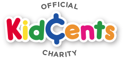 KidCents logo in different bright colors, red, green, yellow, blue, orange,pink
