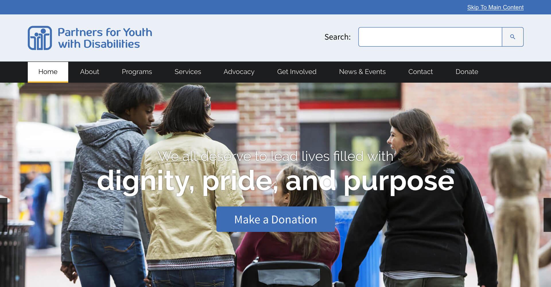 Screenshot of the new PYD.org homepage