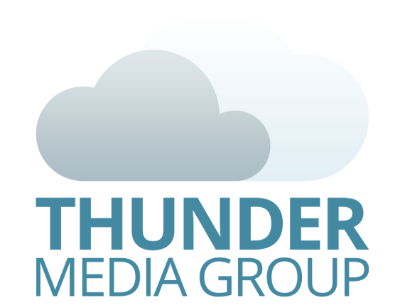 Thunder Media Group logo, which consists of its name plus two clouds