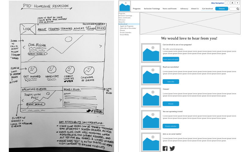 Two mock-ups of possible designs for the PYD website, one of the homepage and one of the get involved page. Made by students from Bently University.