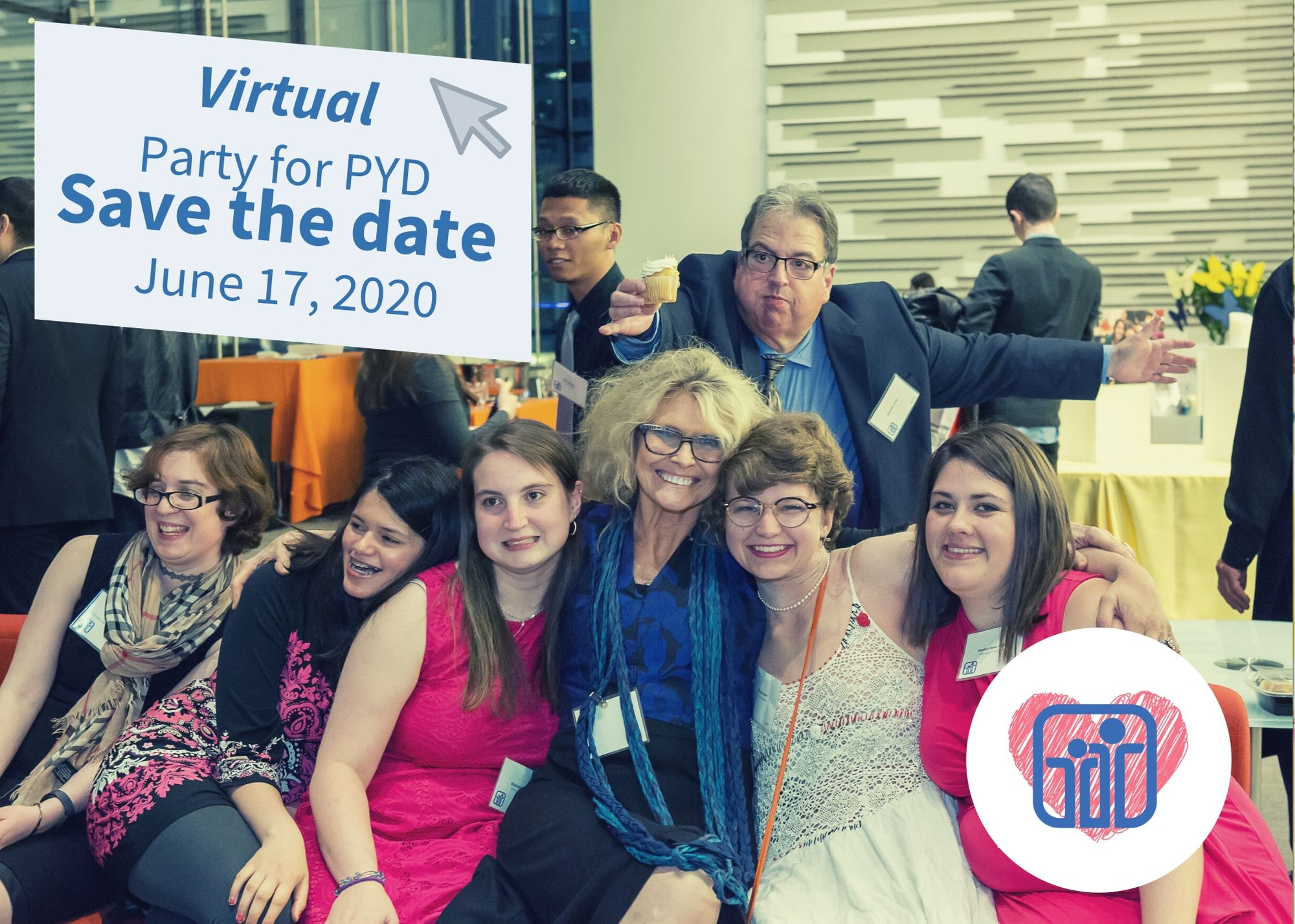 "4 PYD youth sit with staff members Regina and Jordy as they laugh and smile. A man holds a cupcake above Regina's head. The text on the photo says ""Virtual Party for PYD, save the date, June 17th, 2020 7-8:30 PM"
