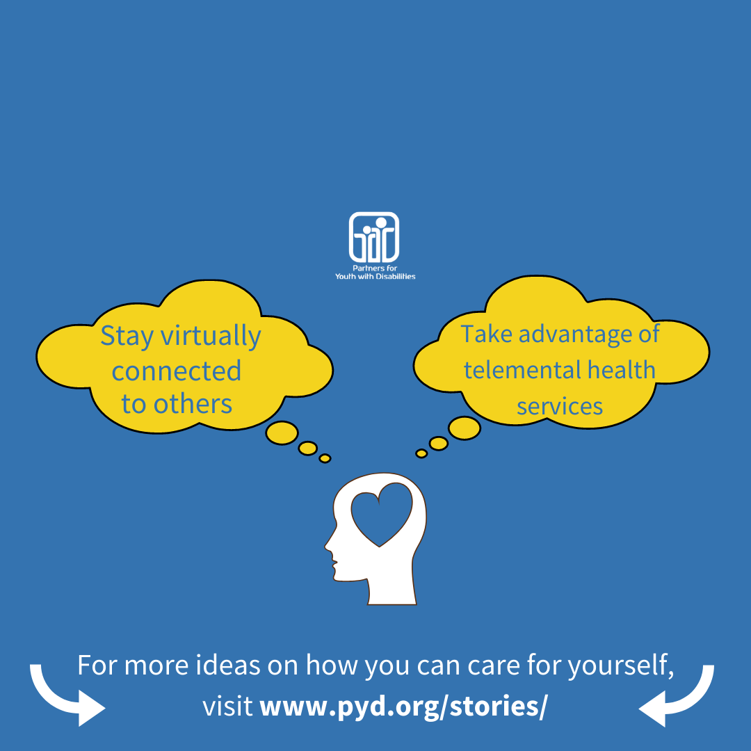 "Animated image of a persons head with two thought bubbles coming off that say ""stay virtually connected to others"" and ""take advantage of telemental health services"""
