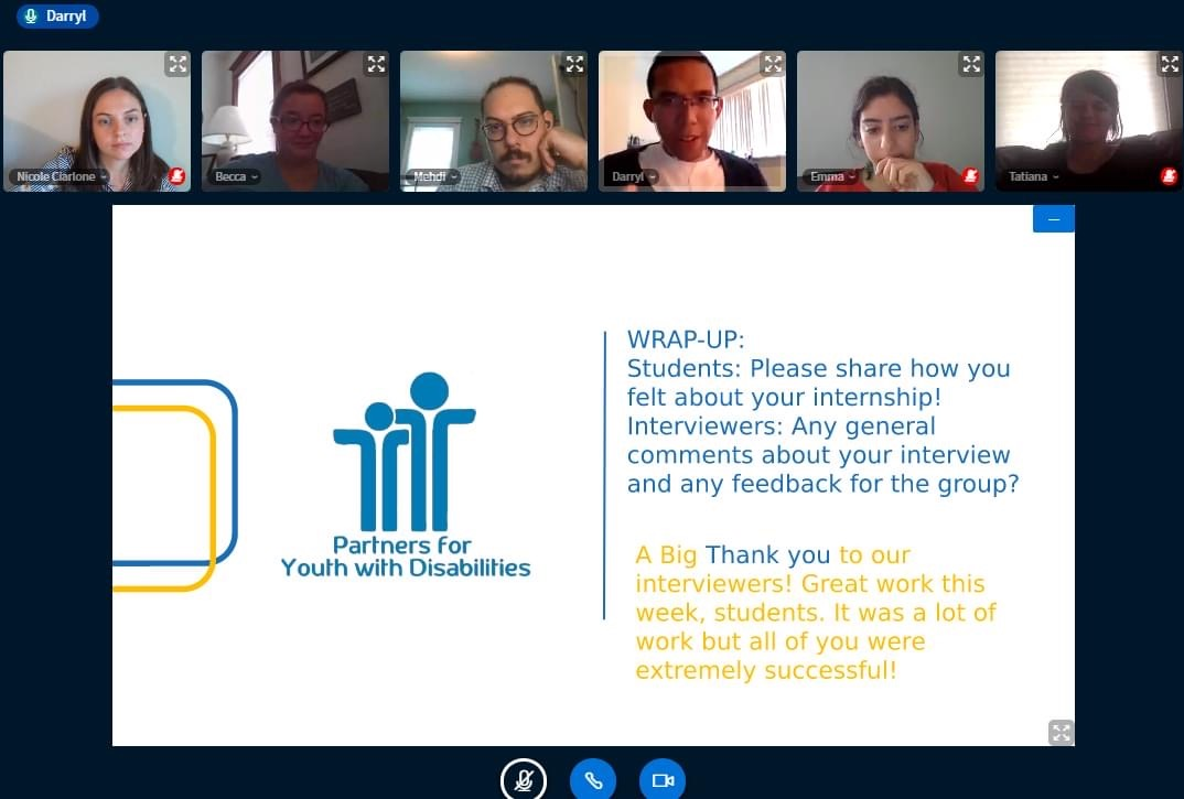 """Screenshot of a PYD webinar, with PYD staff sharing their webcams and a slide displaying the PYD logo and a """"wrap up activity"""" prompt"""