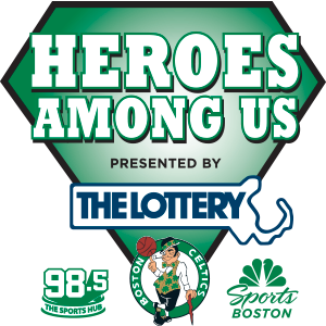 Heroes Among Us presented by the Lottery, Celtics logo, Sports Boston logo